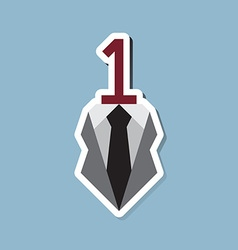 Number one with business suit vector