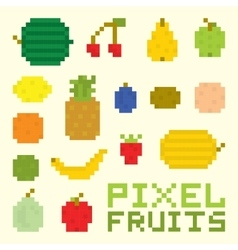 Pixel art fruits isolated set vector
