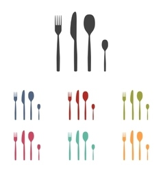 Fork spoon knife icons set vector