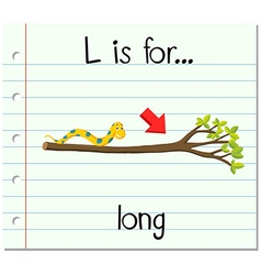 Flashcard letter l is for long vector