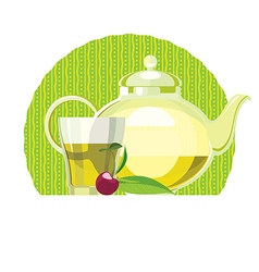 Green tea leaves teapot cup glass vector
