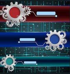 abstract technology concept with gears background vector image vector image