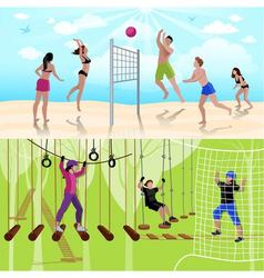 Active Leisure People Composition vector image vector image