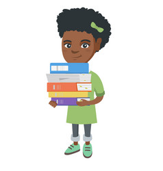 african school child holding pile of textbooks vector image