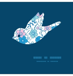 Blue and pink kimono blossoms bird vector