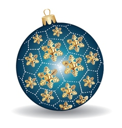 Christmas blue and gold ball vector image vector image