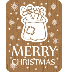 Christmas card with santa bag on wood background vector
