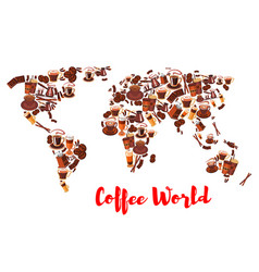 Coffee world map symbol for drink and food design vector