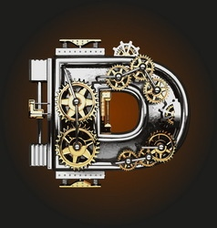 d letter with gears vector image