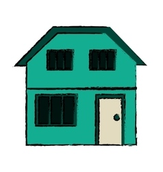 Drawing green house home family residential vector