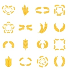 Ear corn icons set cartoon style vector