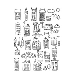 European city icons sketch for your design vector image vector image