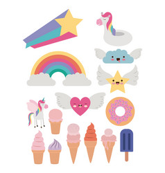 Fantasy set of donut and cloud and heart and star vector