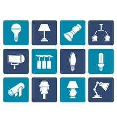 Flat different kind of lighting equipment vector image vector image