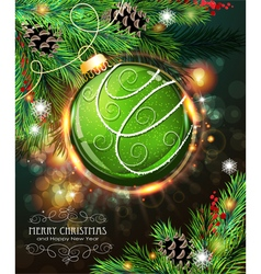 Green christmas bauble vector