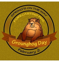 Groundhog day round label vector