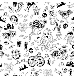 Halloween seamless monochrome kids doodle pattern vector image
