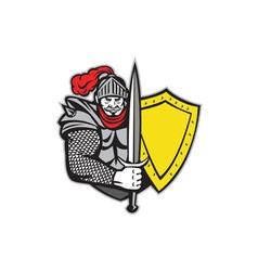 Knight full armor open visor sword shield retro vector