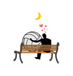 Lover volleyball guy and ball sitting on bench vector