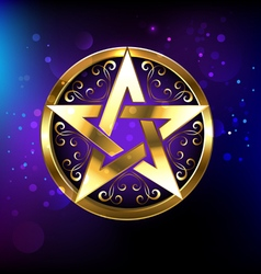 Magic gold star vector