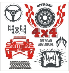 Off-road elements and emblem - set vector image vector image