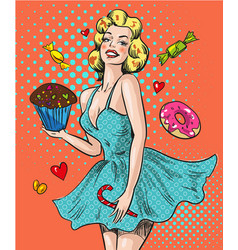 pin up happy woman with sweets vector image