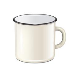 realistic enamel metal white mug isolated vector image vector image