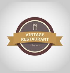 restaurant vintage badge style vector image vector image