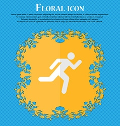 running man Floral flat design on a blue abstract vector image