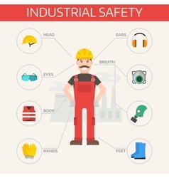 Safety industrial gear kit and tools set flat vector