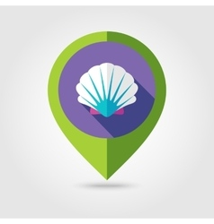 Seashell flat mapping pin icon with long shadow vector