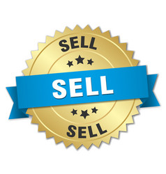 Sell 3d gold badge with blue ribbon vector