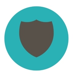 Shield flat grey and cyan colors round button vector