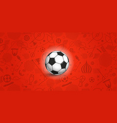 Soccer ball on red background of different soccer vector
