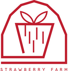 Strawberry farm simple icon design template vector