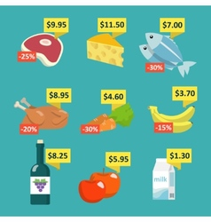 Supermarket food with price tags vector image vector image