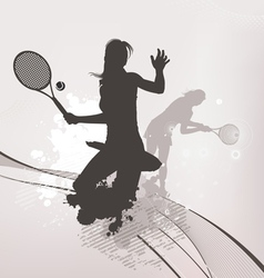 tennis girl background vector image vector image