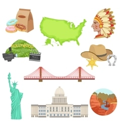 Usa national symbols set vector