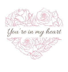 Valentine Card with roses in heart shape vector image vector image