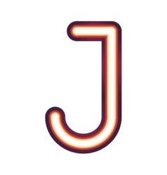 Glowing neon letter j vector