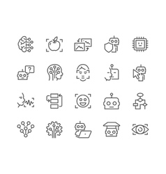 Line artificial intelligence icons vector