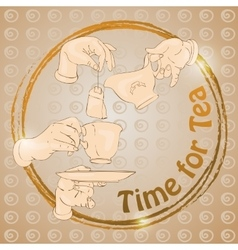 Doodle cup hands and words Time for Tea Freehand vector image