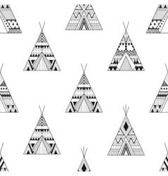 Hand drawn american native wigwams seamless vector