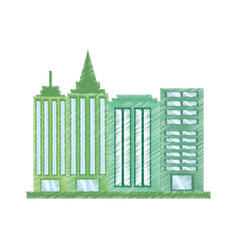 Drawing building office work vector