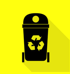 Trashcan sign  black icon with flat vector