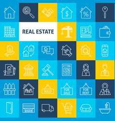 Line real estate icons vector