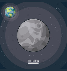 Colorful poster of the moon in closeup with the vector