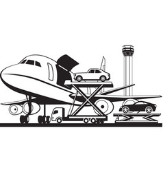 Loading cars in cargo airplane vector