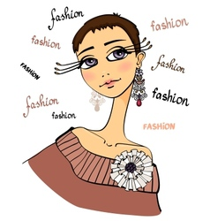 Beautiful fashion woman portrait vector