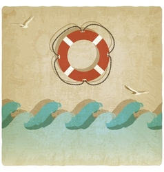 Vintage marine background with lifebuoy vector image